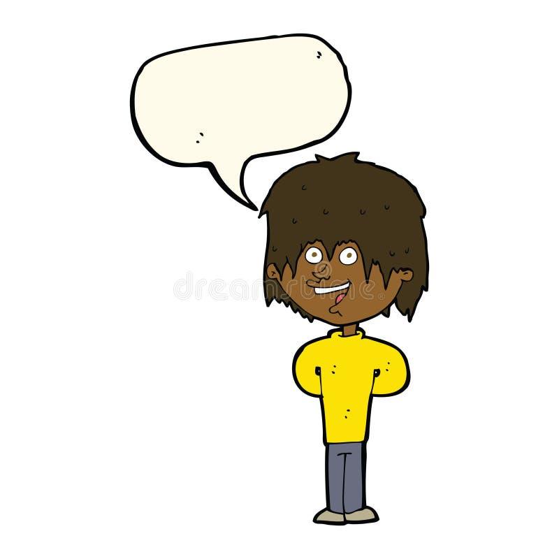 Cartoon happy scruffy boy with speech bubble stock illustration