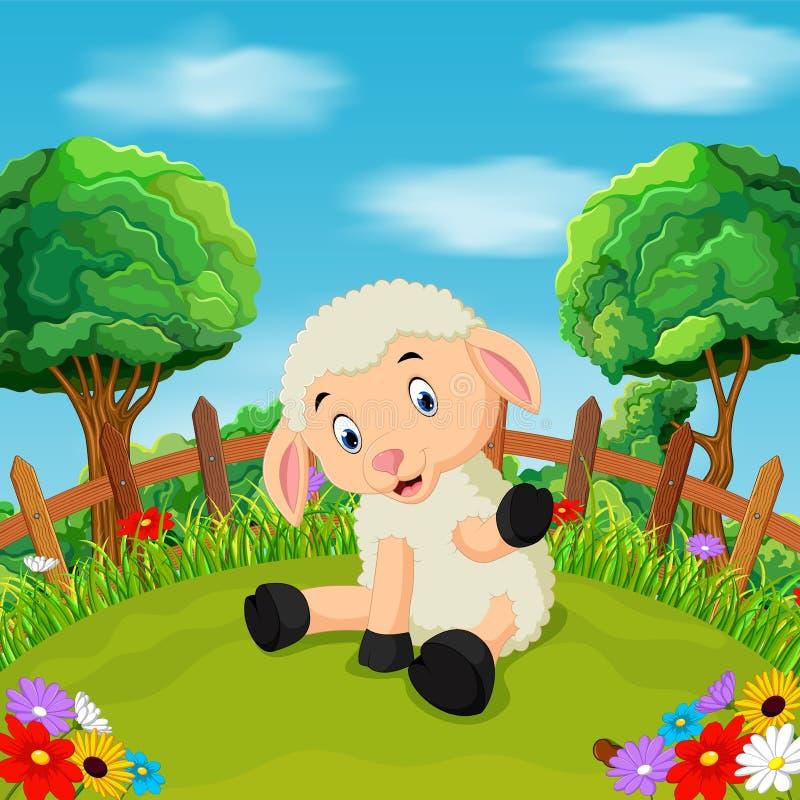 Cartoon happy sheep smile in the farm royalty free illustration