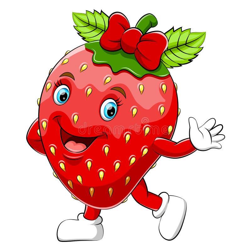 A cartoon happy strawberry character royalty free illustration