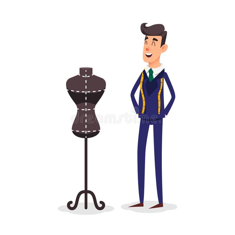 Cartoon happy tailor couture with a centimeter ribbon around his neck. Fashion designer standing near the dummy royalty free illustration