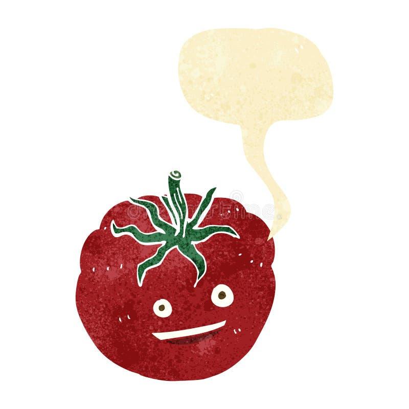 Cartoon happy tomato with speech bubble royalty free illustration