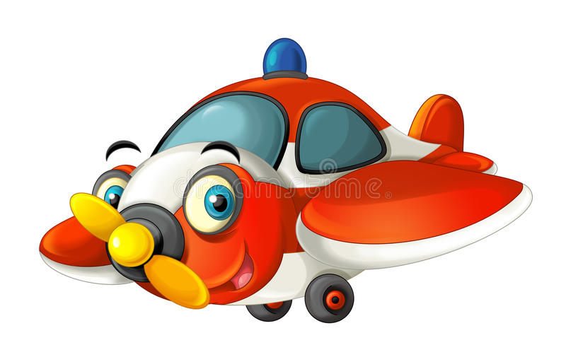 Cartoon happy traditional fire fighting plane with propeller smiling and flying. Beautiful and colorful illustration for the children - for different usage - for royalty free illustration