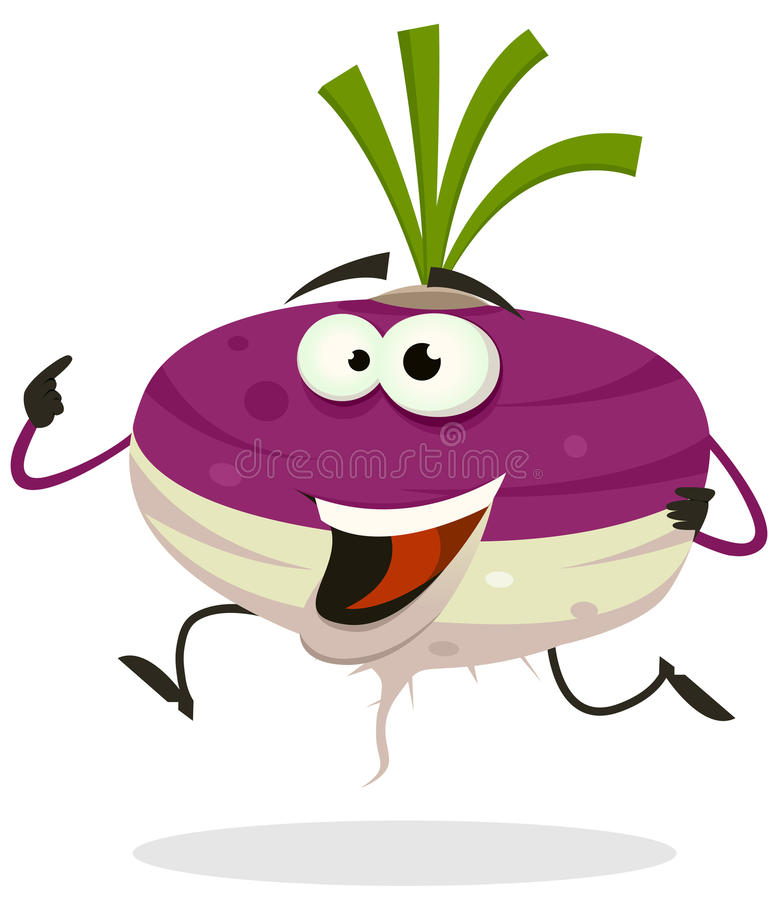 Cartoon Happy Turnip Character Running stock illustration