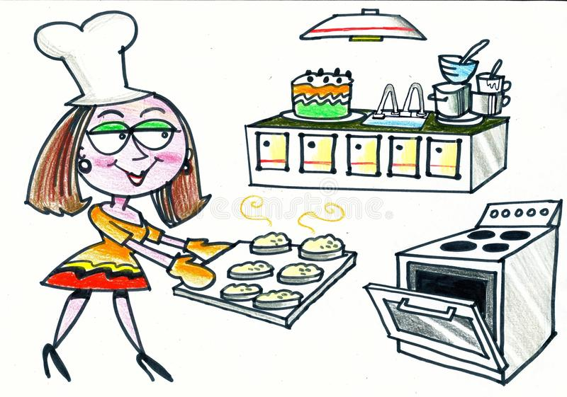Cartoon of happy woman baking scones in kitchen stock photos