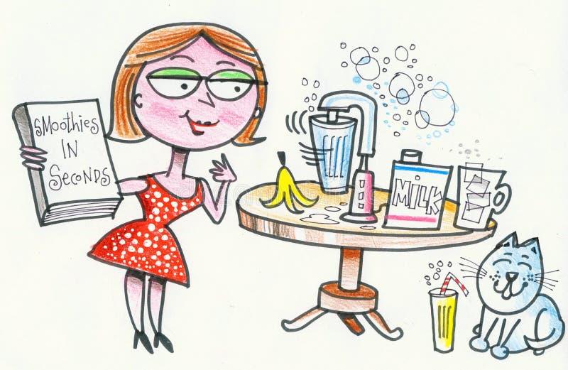 Cartoon of happy woman baking scones in kitchen stock image