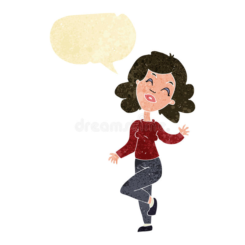 Cartoon happy woman dancing with speech bubble royalty free illustration