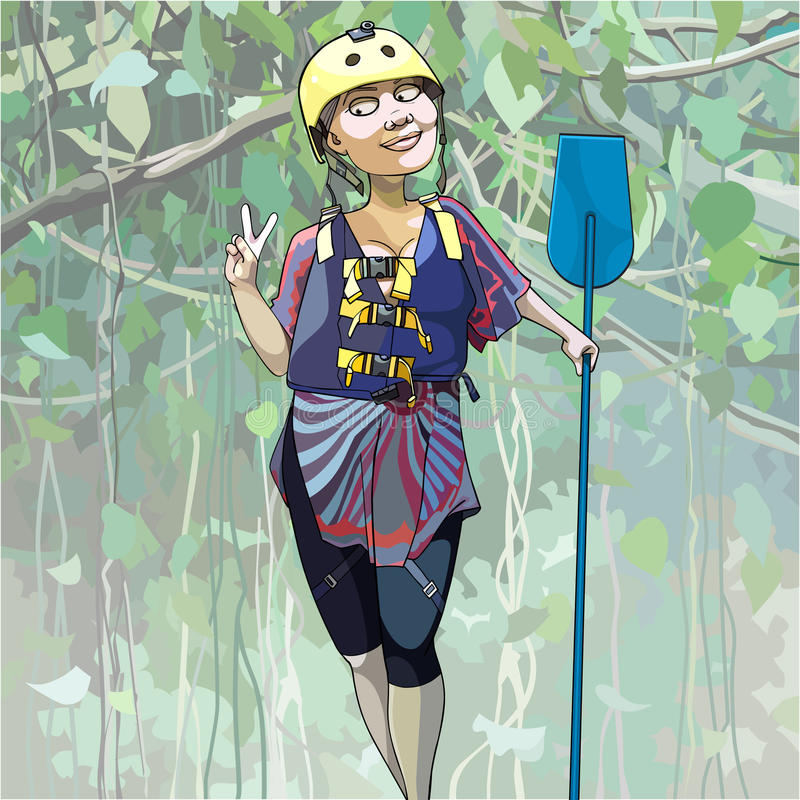 Cartoon happy woman in a helmet stands with a paddle in the jungle. Cartoon happy woman in a helmet stands with paddle in the jungle stock illustration