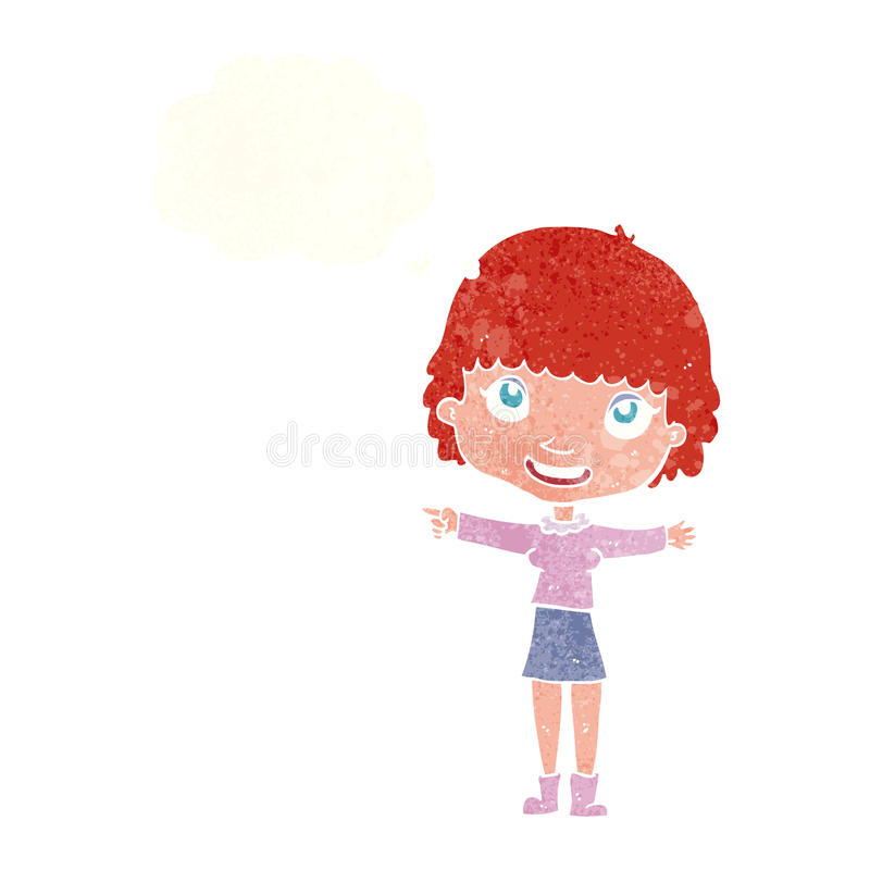 Cartoon happy woman pointing with thought bubble vector illustration