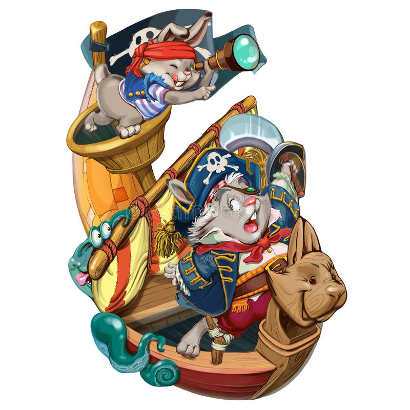 Cartoon hares pirates go on a boarding. vector illustration