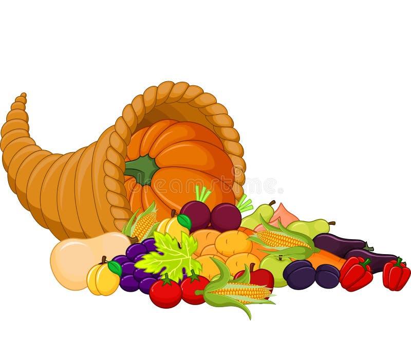 Cartoon Harvest cornucopia stock illustration