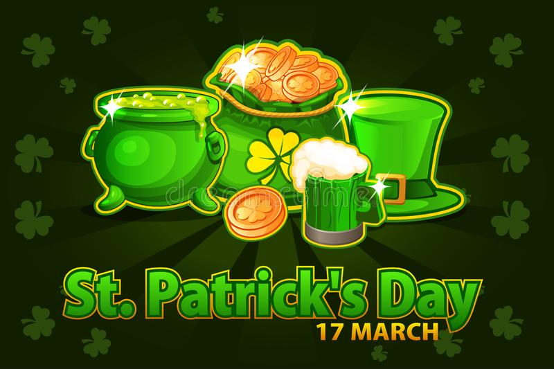 Cartoon hat, beer glass, coin and money bag and pot with magic potion. Vector Illustration For Happy St. Patrick Day stock illustration
