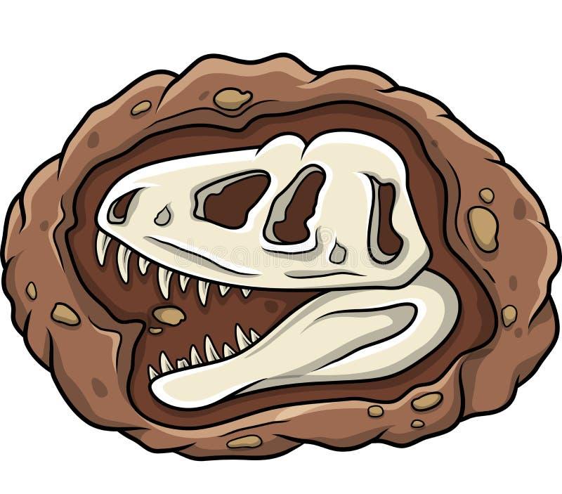 Cartoon head dinosaur fossil. Illustration of Cartoon head dinosaur fossil vector illustration