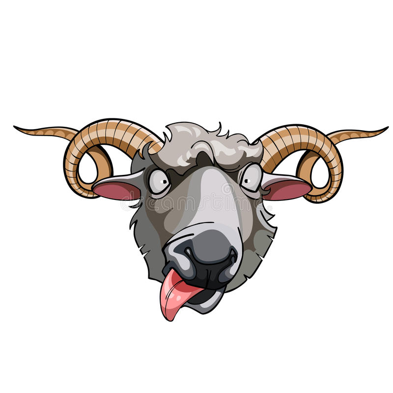 Free Cartoon Head Horned Sheep Royalty Free Stock Photography - 47199577