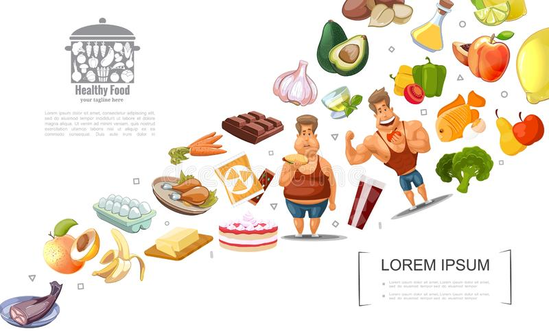 Cartoon Healthy Lifestyle Concept. With fat and athletic men fruits vegetables nuts chocolate cakes eggs fish butter tea vector illustration vector illustration