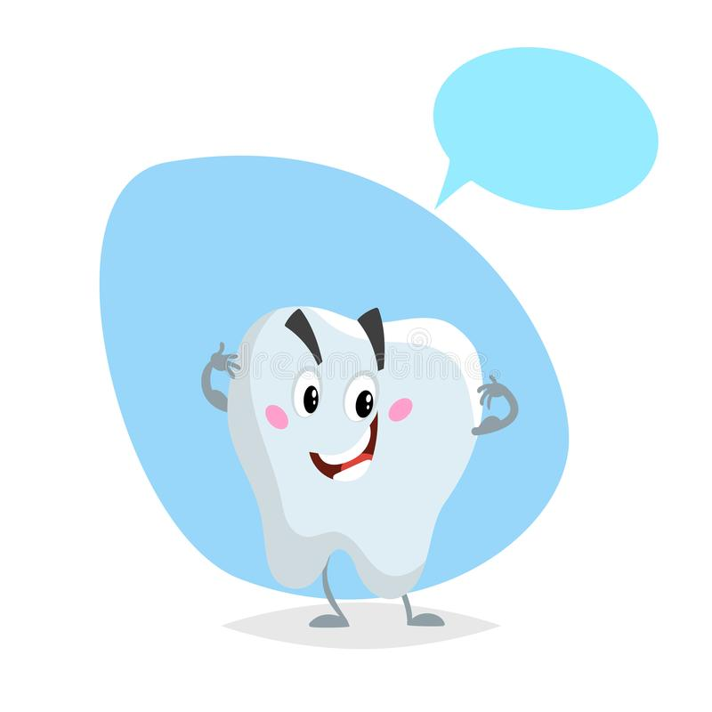 Cartoon healthy tooth smiling mascot. Dental care character with dummy speech bubble. vector illustration