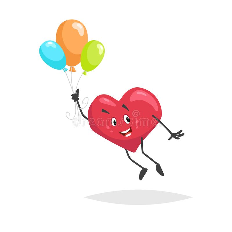 Cartoon heart character. Happy boy mascot flying with colorful baloons. Valentine`s day symbol. Love and romantic vector comic il vector illustration