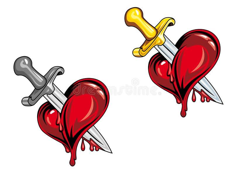 Cartoon heart with dagger vector illustration