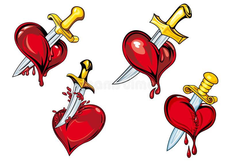 Cartoon heart with dagger tattoo design elements stock illustration