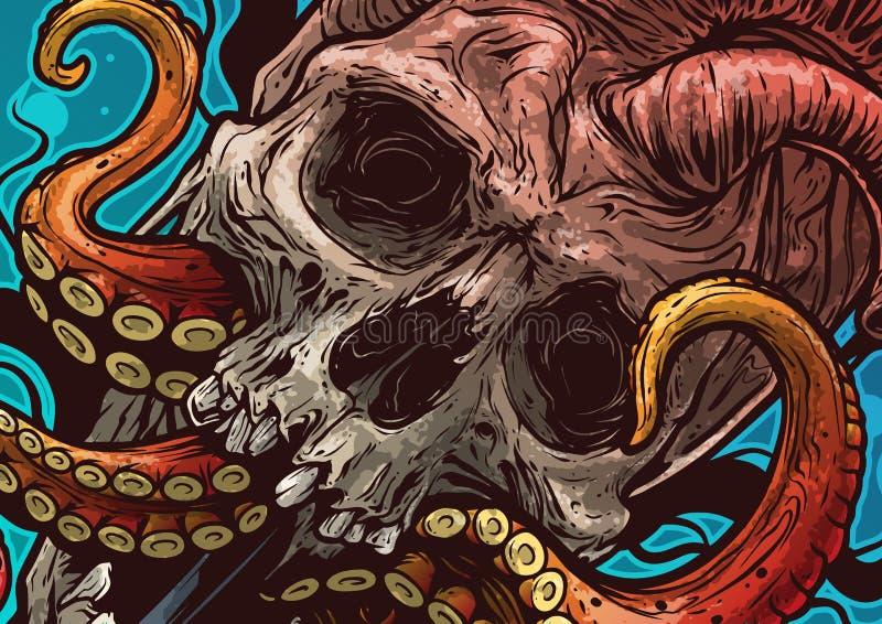 Cartoon heart shaped skull with octopus tentacles royalty free illustration
