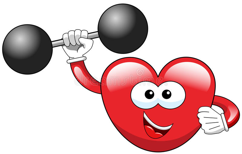 Cartoon heart weightlifter isolated vector illustration