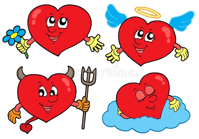 Cartoon hearts collection. Vector illustration royalty free illustration