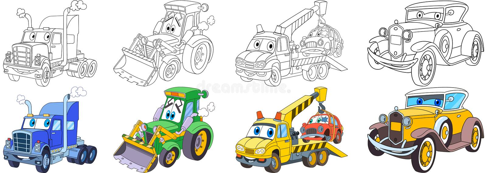 Cartoon heavy cars set stock photo