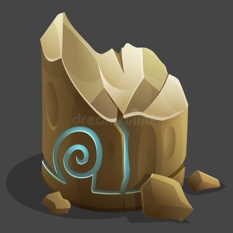 Cartoon heavy rocks with glowing rune. Vector illustration royalty free illustration