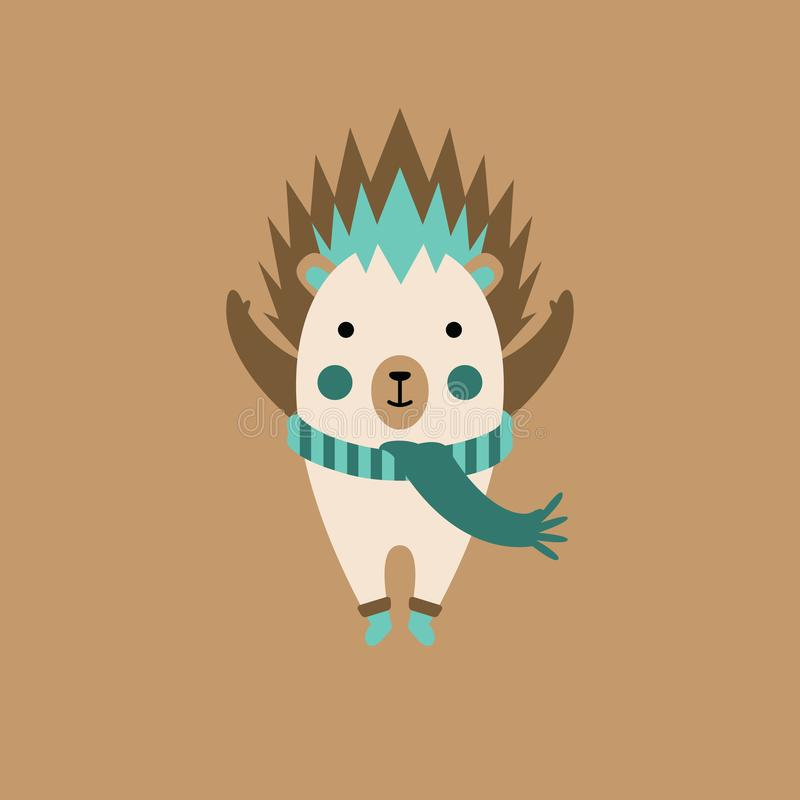 Cartoon hedgehog character with scarf royalty free stock photo