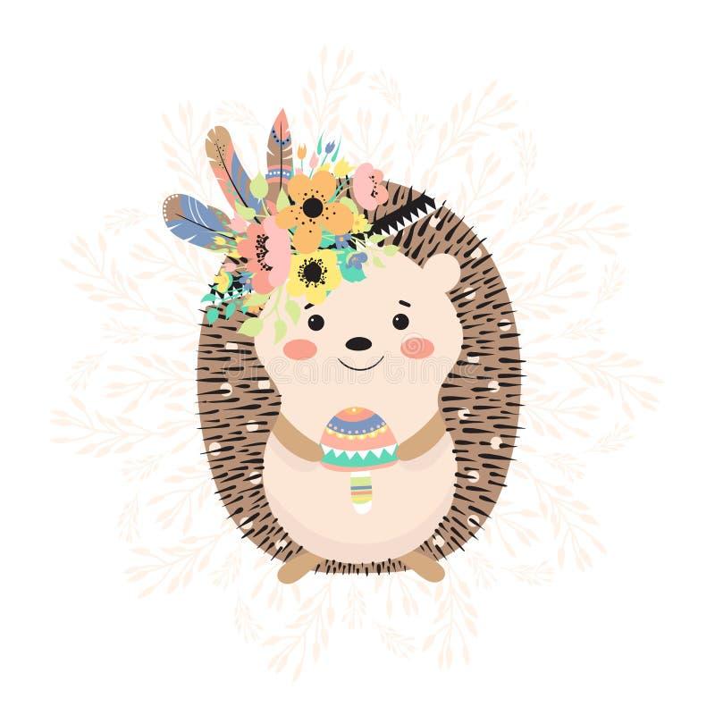 Hedgehog with mushroom and flowers stock illustration
