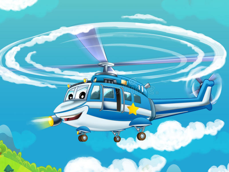 Cartoon helicopter - illustration for the children stock illustration