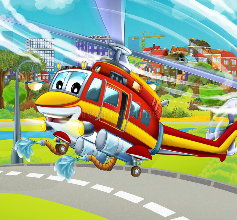 Cartoon helicopter landing near the park. Beautiful and colorful illustration for the children - for different usage - for fairy tales vector illustration