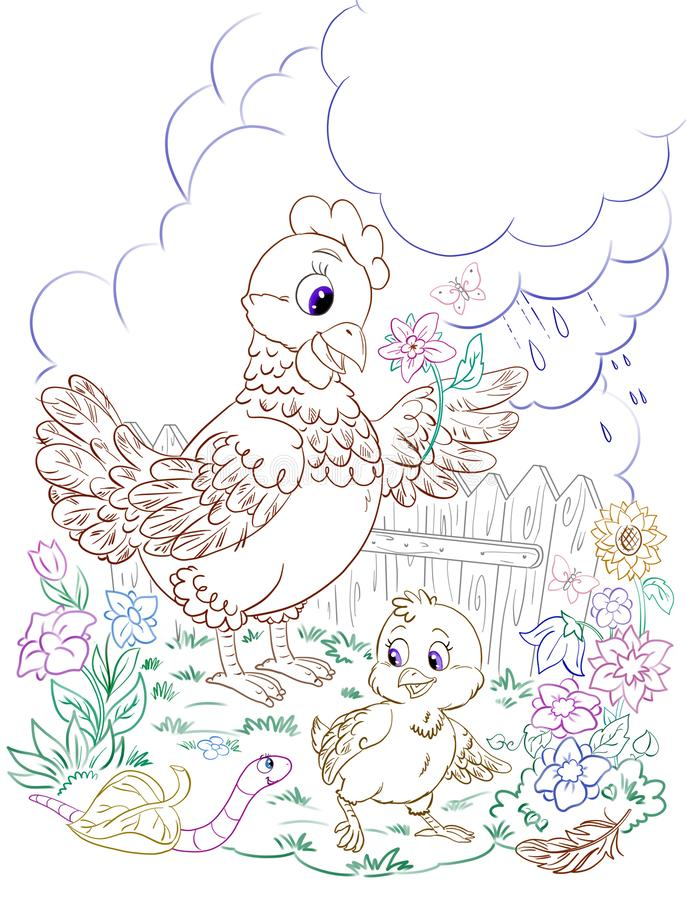 Cartoon hen and baby chick at the garden on a rainy day royalty free illustration