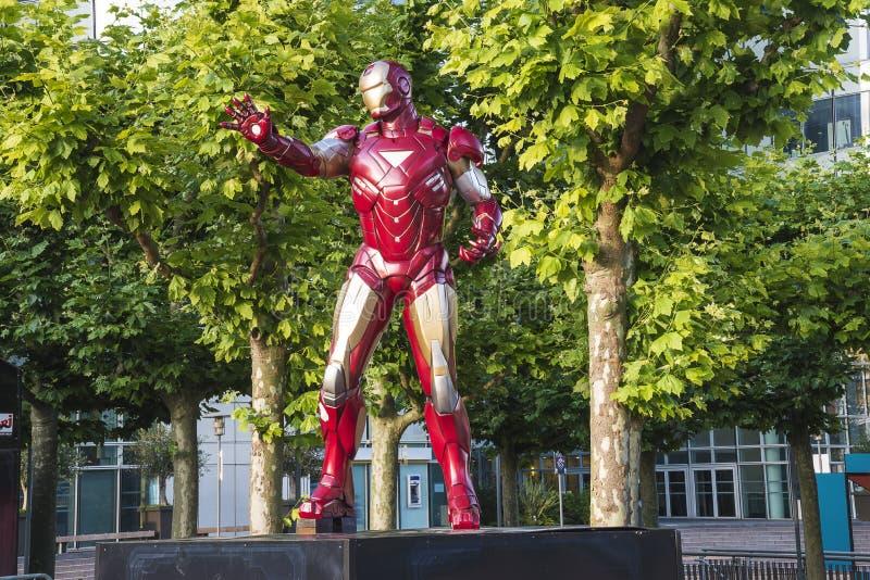 Cartoon hero sculpture in defense stock photo