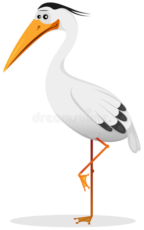 Free Cartoon Heron Bird Royalty Free Stock Images - 28342619