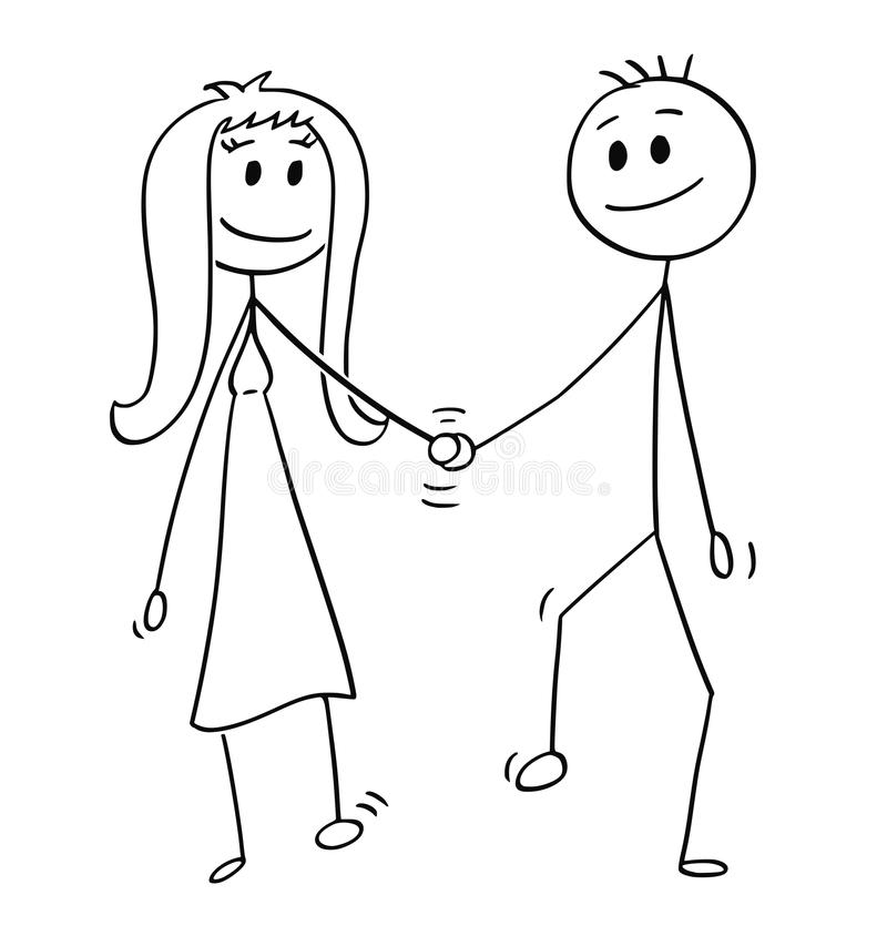 Cartoon of Heterosexual Couple of Man and Woman Walking and Holding Hands vector illustration