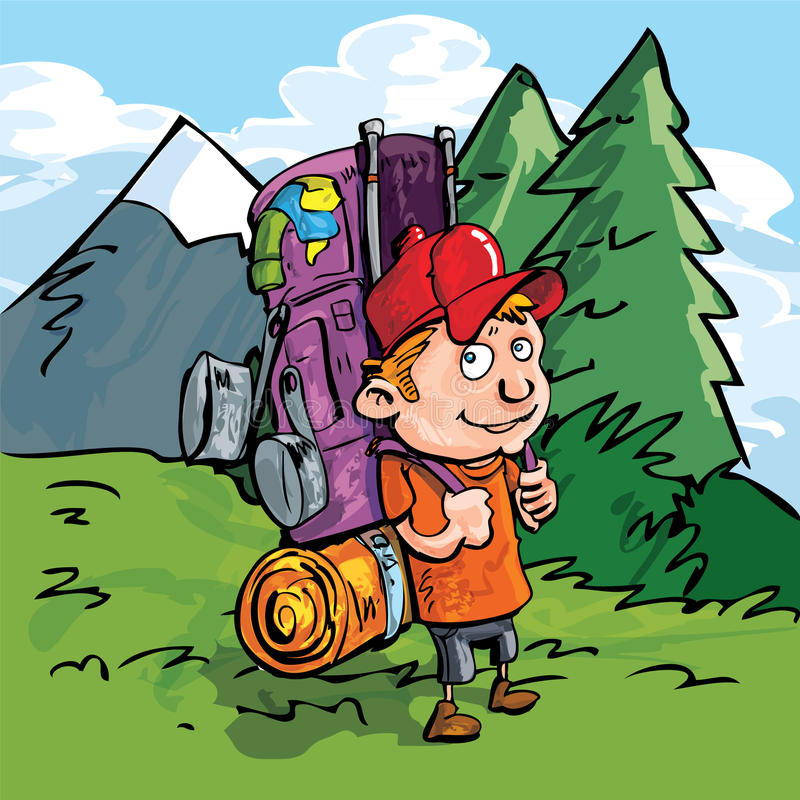 Download Cartoon Hiker In The Forest Stock Photos - Image: 19101193