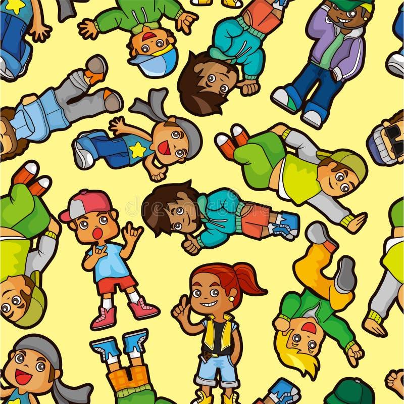 Cartoon Hip Hop Boy Dancing  Seamless Pattern Stock Photo