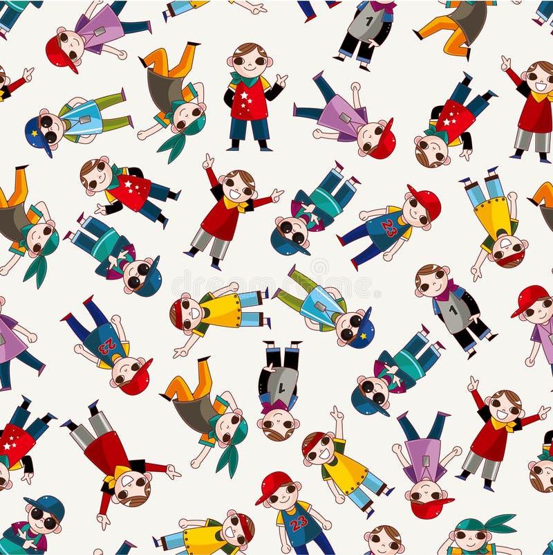Download Cartoon Hip Hop Boy Dancing Seamless Pattern Stock Vector