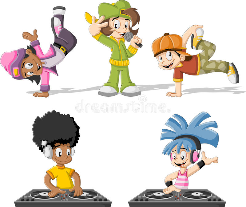 Cartoon hip hop dancers. With a singer and a dj playing music royalty free illustration