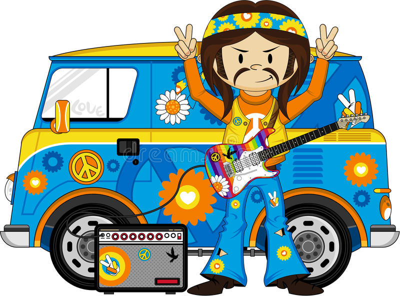 Cartoon Hippie with Camper Van. Vector Illustration of a Cute Little Sixties Flower Power Hippie with Camper Van. An EPS file is also available vector illustration