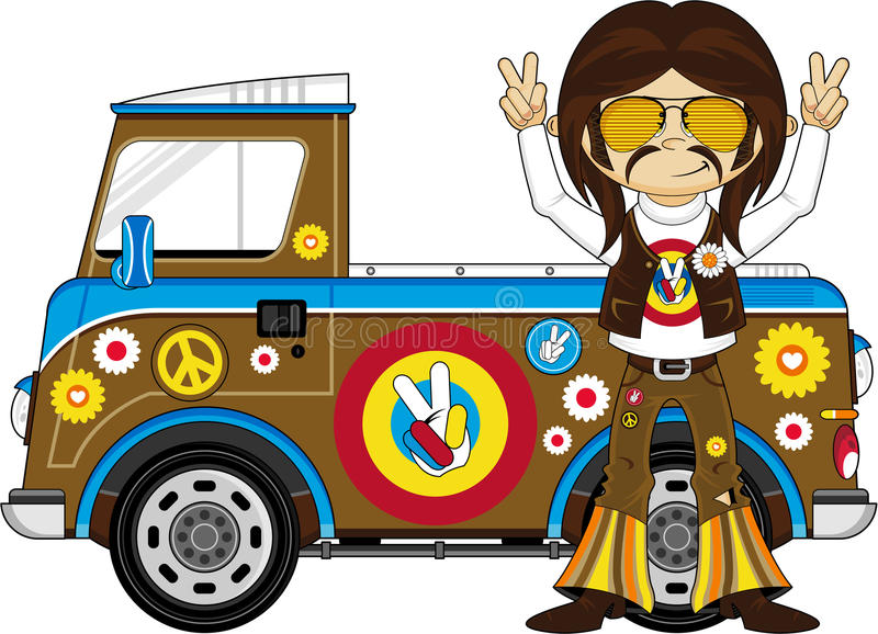 Cartoon Hippie With Camper Van Stock Vector