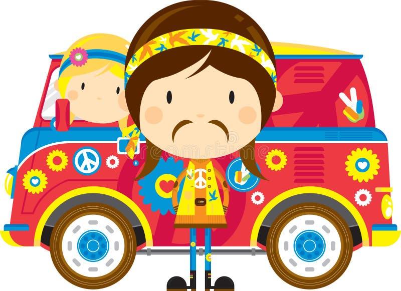 Cartoon Hippies and Retro Van. Cute Cartoon Sixties Flower Power Hippies and Retro Camper Style Van - by Mark Murphy Creative stock illustration