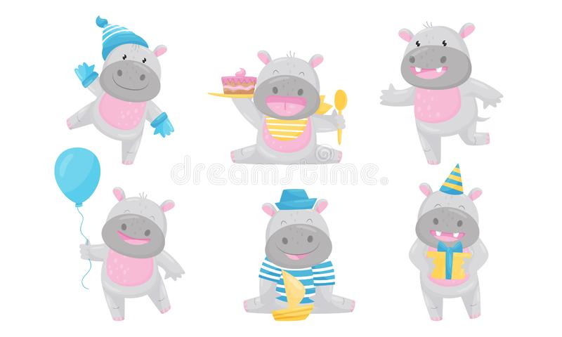 Cartoon Hippo Boy Character Holding Ballon and Eating Cake Vector Set royalty-vrije illustratie