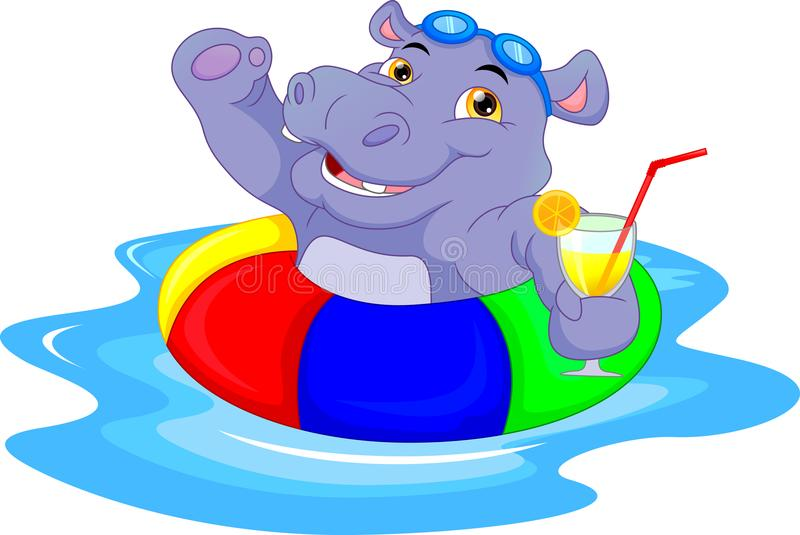 Cartoon hippo with inflatable ring. Vector illustration of Cartoon hippo with inflatable ring stock illustration