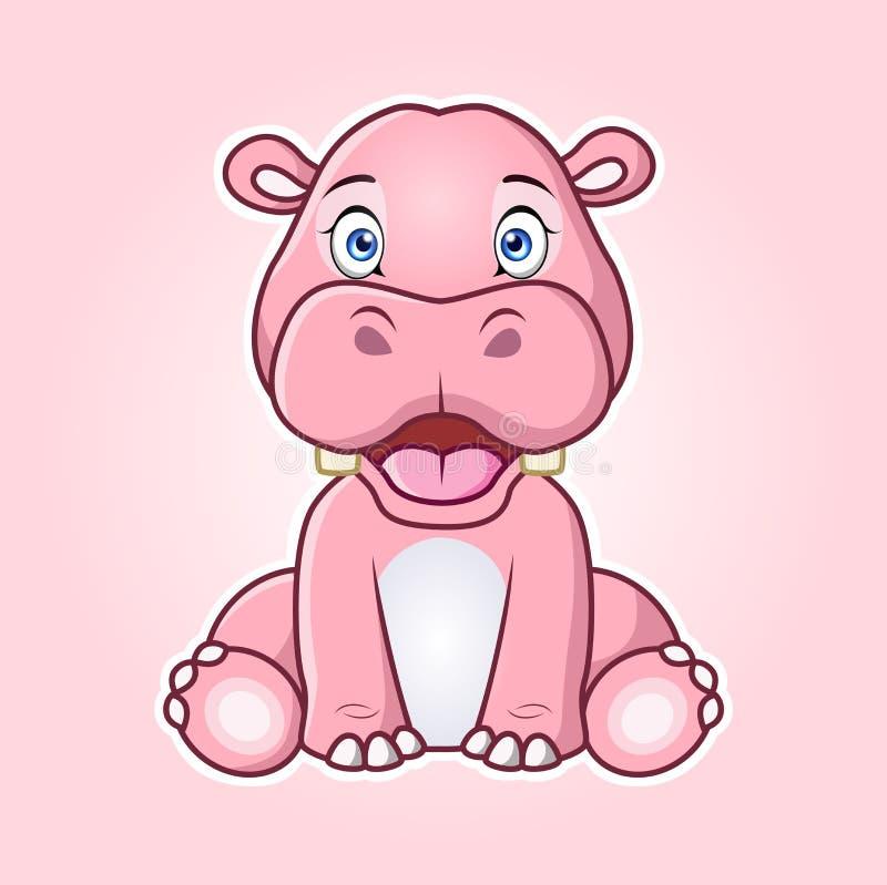 Cartoon Hippopotamus sitting with smile. Vector illustration . vector illustration