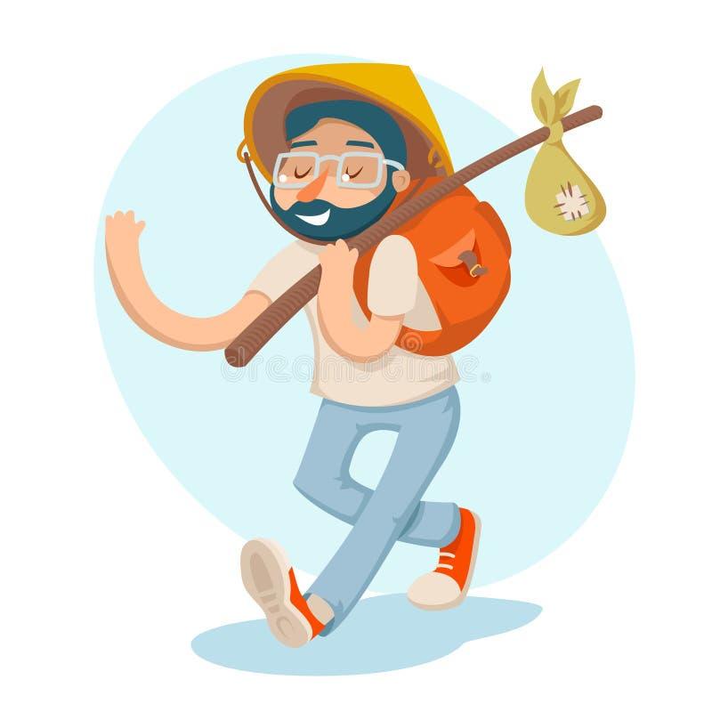 Cartoon Hipster Geek Traveler Businessman Vacation Summer Character Icon on Stylish Background Design Vector stock illustration
