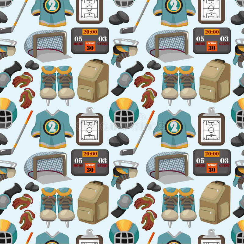 Cartoon hockey sport seamless pattern royalty free illustration