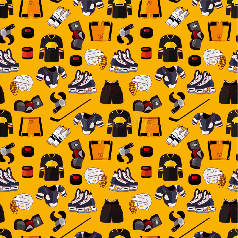 Cartoon Hockey Sport Seamless Pattern Stock Photo