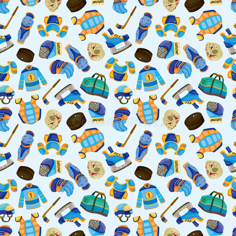 Cartoon hockey sport seamless pattern vector illustration