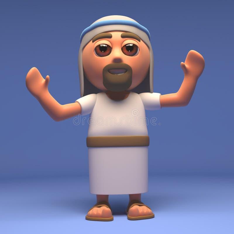 Cartoon Holy Jesus Christ with arms raised, 3d illustration stock illustration